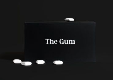 Zero-branded nicotine gum and packaging.